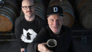 Dan and Kev Dainton with their award-winning Cherrywood Smoked Rye Baltic Porter