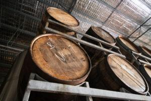 Beer barrels at Dainton Brewery